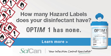 Optim 1: No Hazard labels on this disinfectant!