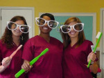 Students in the dental assisting program at Augusta Technical College show their playful side.