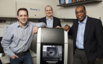 Figure 1 Jason Gleason, Evan Krouse, and Lawrence Johnson with Yes! Dental Laboratory's Ceramill Motion 2 5-axis mill.