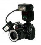 Figure 4  A camera with a single-point flash and a ring flash, which are used separately. Photo courtesy of Lester Dine, Inc.