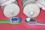 Figure 5 Suitable portions of Enamelon Gel (left) and Toothpaste (right).