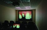 Fig 4. The large projector screen on which Mike Bellerino views images of his work.