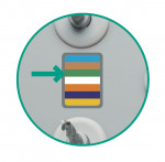Figure 3  Step 1: The 3.7-mm diameter Tapered Screw-Vent implant is color-coded in green. Start with the first green bar on the kit, which indicates the first drill to be used in the drilling sequence.