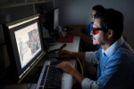 Fig 2. A technician uses 3M's Margin Marking Software, with 3D glasses to enhance the view.