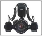 Fig 1. Contemporary fluorescence capturing set-up, including DSLR camera, macro lens, and twin light macro flash along with removable filter for UV flash illumination.