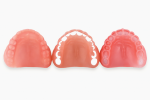 Fig 6. Three separate 3D models are made from the same denture design for manufacturing.