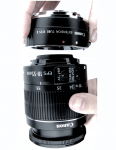 "Fig 5. A 18- to 55-mm ""kit lens"" is fitted with a 25-mm extension tube to reduce minimal focusing distance."