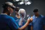 Fig 2. HoloLens users can view a 3D representation of a human body and navigate through layers of skin, muscle, and organs.