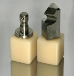 Figure 1  Ceramic mill blocks with CEREC (left) and E4D (right) milling mandrels.